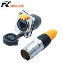 10pcs/lot Waterproof RJ45 Panel Mount Chassis 8P8C RJ45 Plug Jack Ethernet Plug Socket Connector Waterproof IP65 Wholesasles