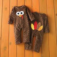 CANIS Outono Bebê Recém-nascido Do Bebê Menino Menina Manga Longa Ação De Graças Romper Macacão Pijama Roupa Roupas