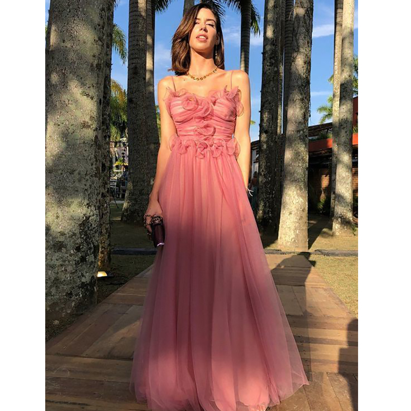 Verngo A Line Pink Tulle Evening Dress Elegant Formal Dress Strapless Prom Dress Backless Party Gowns Vestido Noite