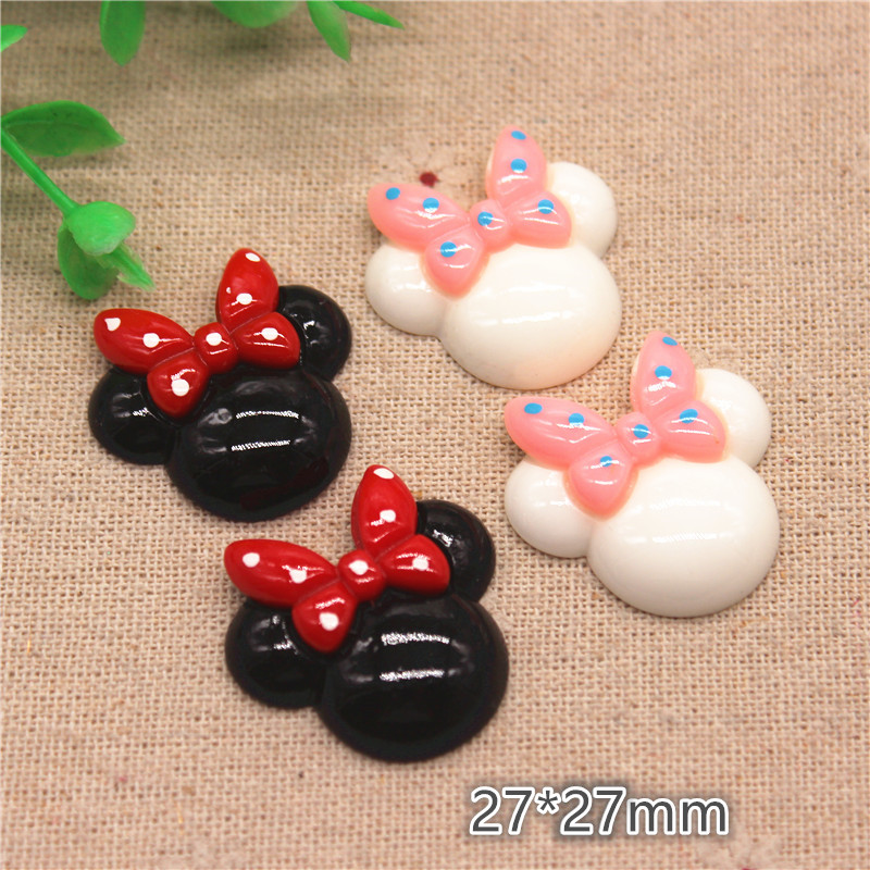 10pcs 27mm Cute Resin Mouse Head With Polka Dot Bow Flatback Cabochon DIY Hair Clip Decoration