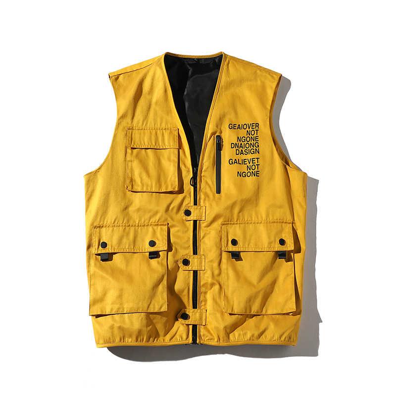 Little Raindrop hombre Top sin mangas Casual suelto masculino Cargo táctico chalecos hombres ropa de abrigo chaleco Multi bolsillos tanque en blanco Top