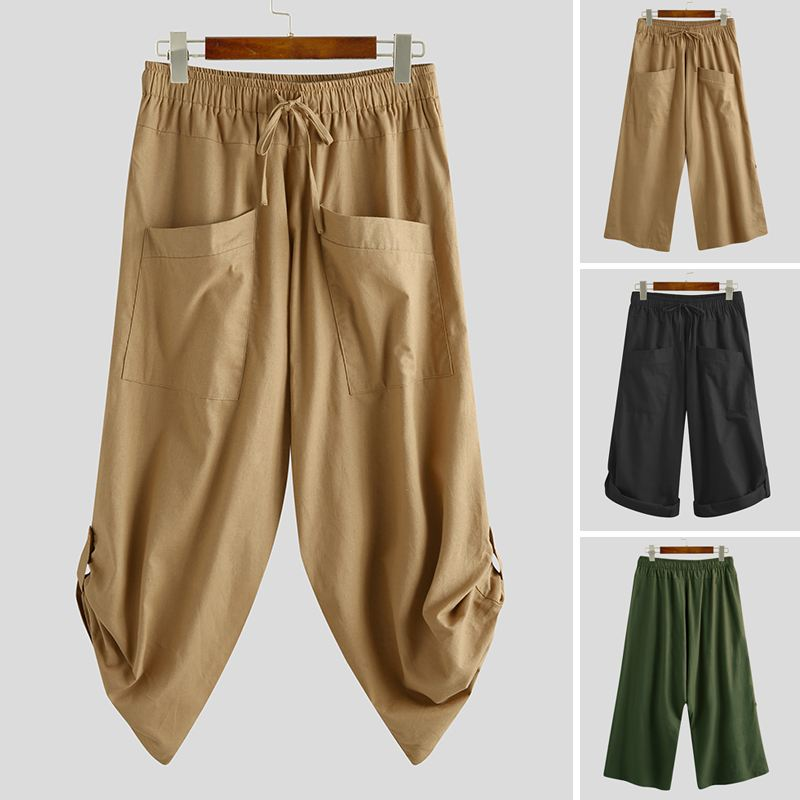 INCERUN Men Fashion Drop Crotch Harem Pants Men Casual Pants Cotton Linen Solid Loose Jogger Retro Elastic Waist Trousers 5XL 7