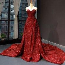 高級恋人セクシーなイブニングドレス 2020 ノースリーブハイエンドスパークトロブライダルドレスリアルフォト HM66681