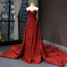 Luxury Sweetheart Sexy Sequined Evening Dresses 2020 Sleeveless High end Sparkle Evening Gowns Real Photo HM66681