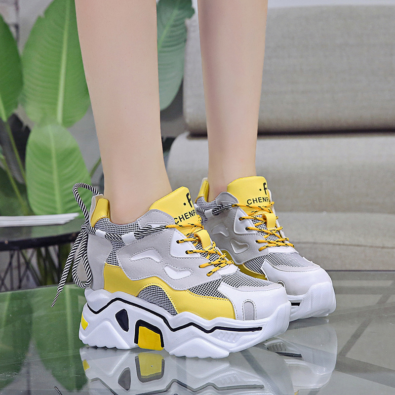Rimocy Chunky Platform Sneakers For Women Autumn Breathable Air Mesh Back Lace Up Casual Shoes Woman Height Increasing Zapatos