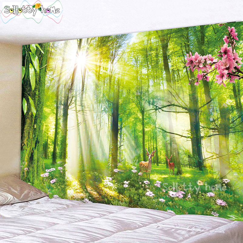Wall Tapestry Forest Fantasy Scenery Bohemian Sunshine Fawn Flowers Mandala Tapestry Carpet Home Living Decor Space Beach Mat