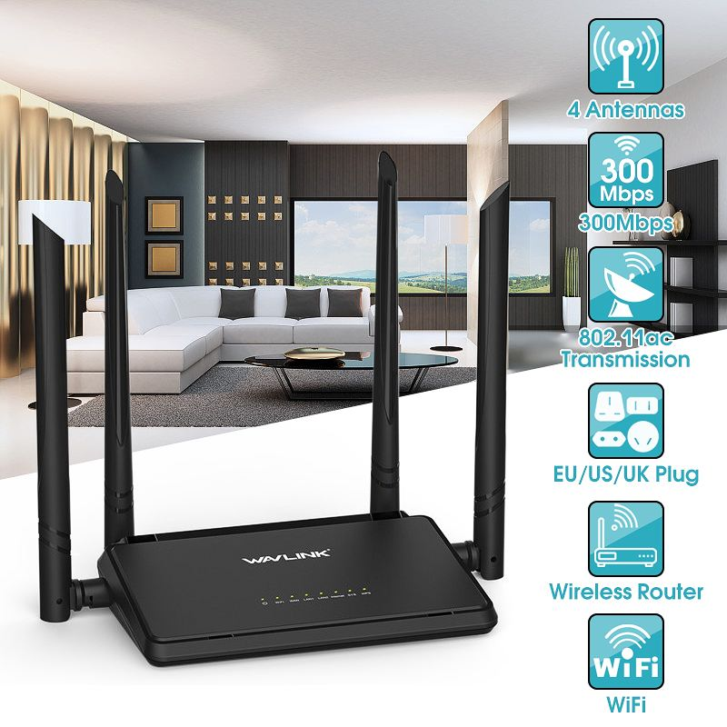 Wavlink WS-WN529R2P Wireless Routers 802.11ac  300Mbps Smart WiFi 4 Antennas Routers EU/US/UK Plug Best Price