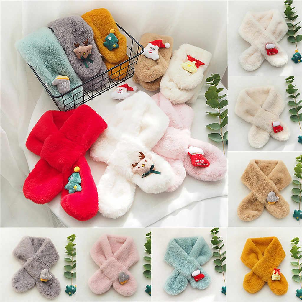 Peludo cor sólida dos desenhos animados série de natal cachecóis babador das crianças inverno quente cachecol imitação coelho cabelo envolve foulard femme