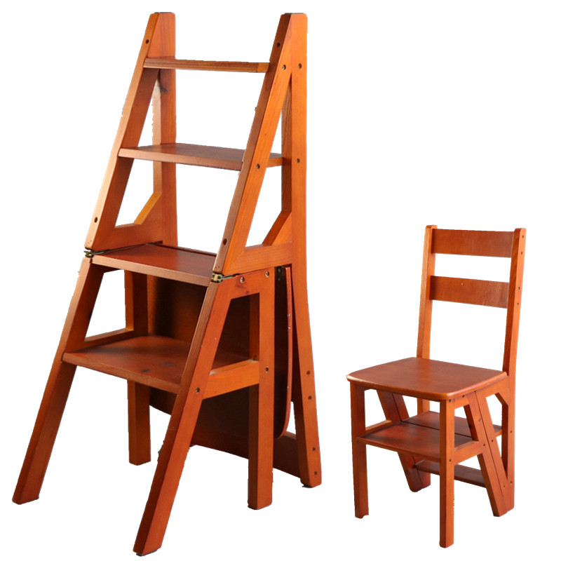15% Folding Wooden Ladder & Chairs Library Chair Multi Use Household/Office Furniture Heavy Duty Stable & Durable Solid Wood
