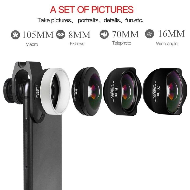 4 en 1 Kit de lente de cámara de teléfono sin distorsión Objetivo Macro de gran angular de ojo de pez con Clips Lentes para la mayoría de Smartphones - 2