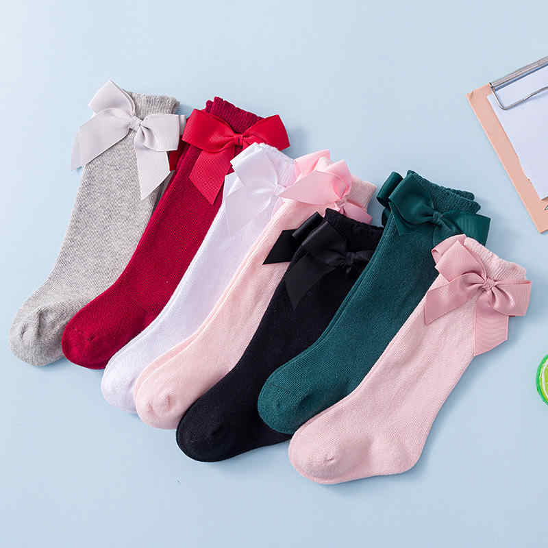 Balleenshiny Herfst En Winter Kids Sok Katoen Spaanse Stijl Grote Boog Baby Baby Sokken Peuter Pasgeboren Accessoires Voor 0-3year