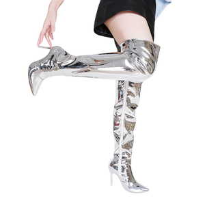 Image 2 - Sexy Silver Mirror Thigh High Boots Women T Show Pointy Toe Club Party Shoes Thin High Heels Over The Knee Long Boots For Women