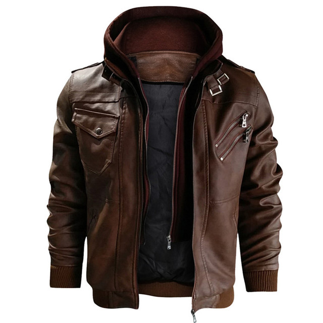 New Men's Leather Jackets Autumn Casual Motorcycle PU Jacket Biker Leather Coats Brand Clothing EU Size 5