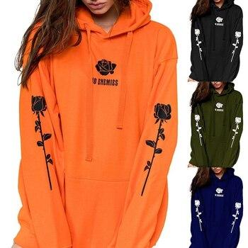 цена на Slogan Orange Sweatshirt Rose Print Hoodie Plus Size Hoodies Women 5xl Poleron Mujer 2020 Kangaroo Pocket Oversized Hoodie Thick