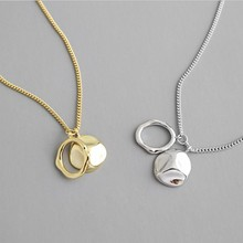 S925 Sterling Silver Gold Color Geometric Necklaces Pendants for Women Irregular Uneven Necklace Minimalist Jewelry цена 2017