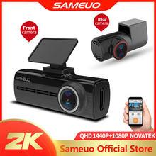 Sameuo u750 carro dvr app & inglês controle de voz 1080p hd visão noturna câmera do carro gravador wi fi traço cam frente e traseira