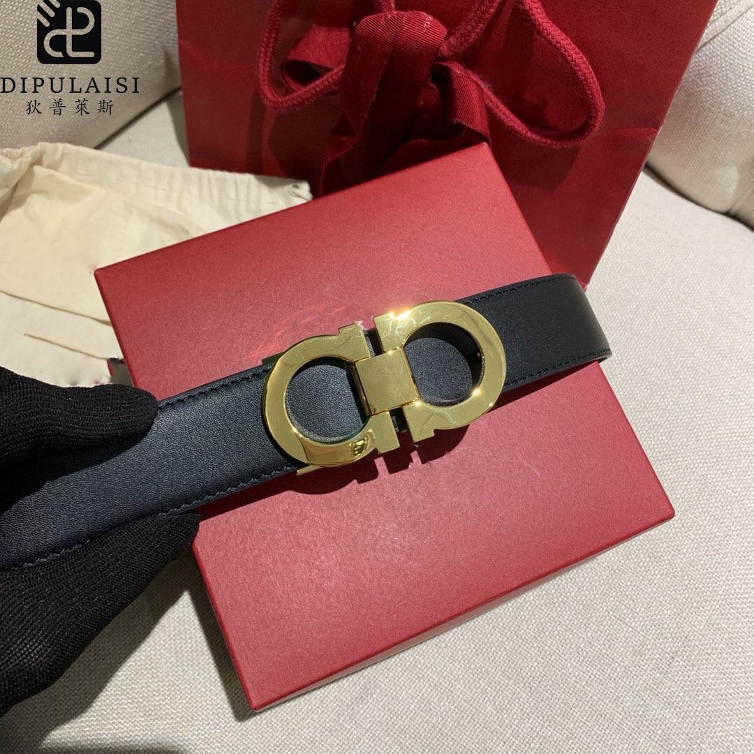 2020 offre spéciale nouveau Dipulais haut de gamme luxe hommes ceinture marque cuir affaires décontracté 8 bouton jean noir pantalon ceinture 3.5cm