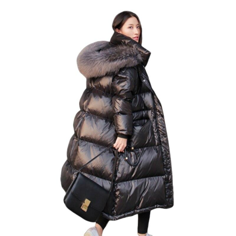 Femme hiver veste longue noir brillant pardessus de genou hiver manteau Parka artifique grande fourrure col manteau femmes chaud Parka coton rembourré Plus