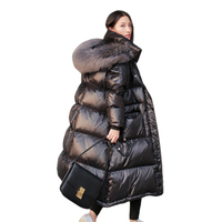 Woman Winter Jacket Long Black Glossy Overknee Winter Coat Parka Artific Big Fur Collar Coat Women Warm Parka Cotton Padded Plus