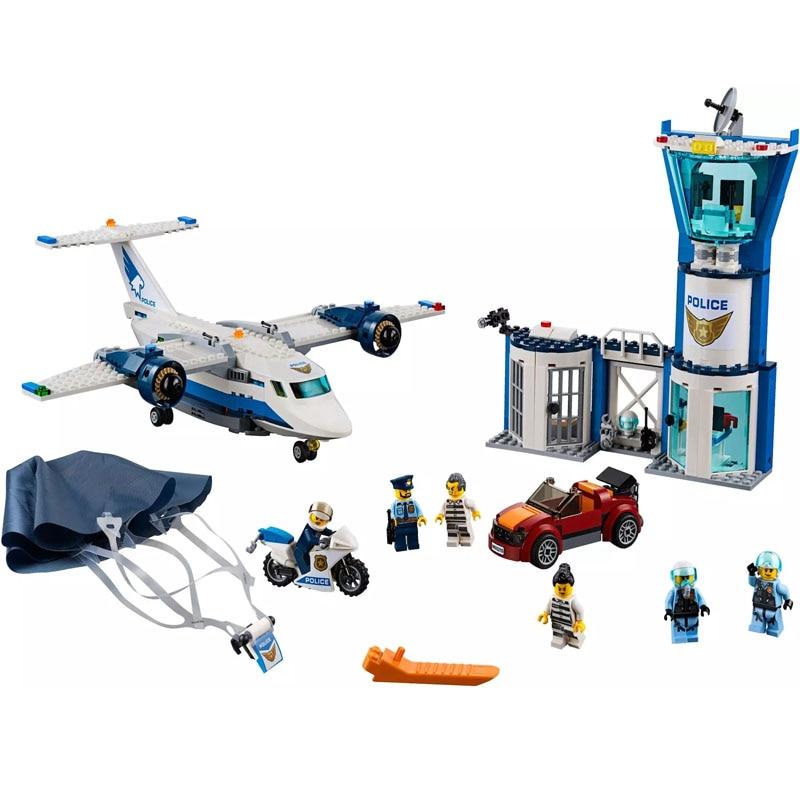 559pcs Arctic Sky PoliceING Air Base Getaway Car Airplane Parachute Building Blocks Compatible Legoinglys City 60210 Bricks Toy