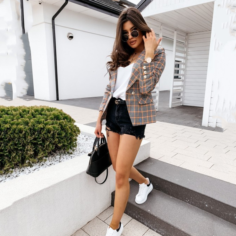 Streetwear Elegant Plaid Blazer Coat Women Rivets Office Ladies Work Fashion Vintage Cardigan Femme Jacket Double Breasted Coats