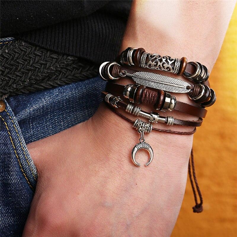 IF ME Fashion Adjustable Multilayer Leather Bracelet Men Male Handmade Wrap Rope Horn Leaf Feather Set Bracelet Bangles Jewelry 1