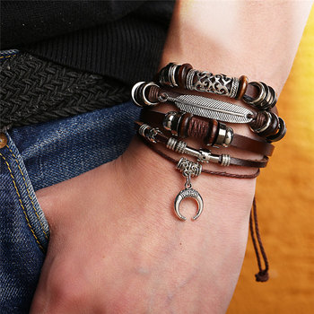 IF ME Fashion Adjustable Multilayer Leather Bracelet Men Male Handmade Wrap Rope Horn Leaf Feather Set Bracelet Bangles Jewelry 1