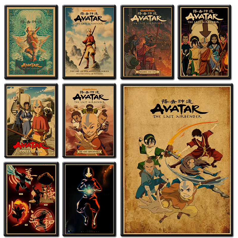 Hot Avatar The Last Airbender Aang Katara Cartoon Kraft Posters And Print Wall Painting Wall Picture For Living Room Home Decor