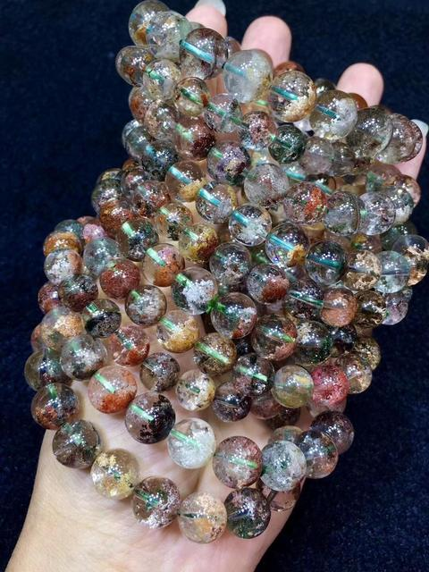 Naturalny kolorowy Phantom kwarcowy kobiety mężczyzna Reiki jasny ogród moc kule Stretch kryształowa bransoletka 15mm AAAAA