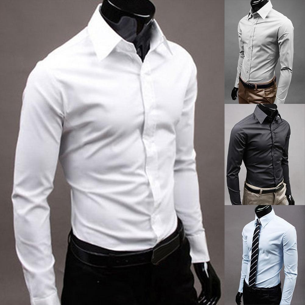 Plus Size Men's Cotton Long Sleeves Men Dress Shirts Men Solid Color Business Long Sleeve Button Turn Down Collar Shirt Top Men
