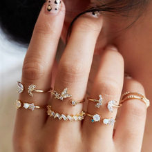 7pcs/set Vintage Gold Star Moon Butterfly Rings Set for Women Boho Crystal Midi Finger Ring Female Punk Gold Wide Chain Rings