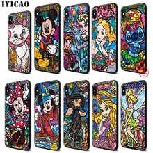 IYICAO Alice Stitch Mickey Mouse Soft Black Silicone Case for iPhone 11 Pro Xr Xs Max X or 10 8 7 6 6S Plus 5 5S SE lavaza cartoon mickey mouse couple silicone case for iphone 5 5s 6 6s plus 7 8 11 pro x xs max xr