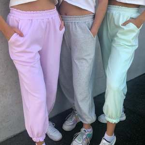 Trousers Women Sports-Pants Joggers Oversized Wide-Leg Gray Streetwear High-Waisted Baggy