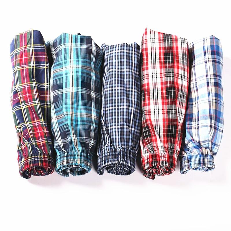 4pcs/lot Classic Plaid Trunks Men Underwear Cotton Mens Boxer SDhorts Elastic Waist Family Panties Home Underpants Loose Boxers