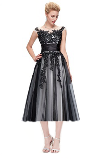 Evening-Dress Party-Gowns Tea-Length Sheer-Neck Wedding Formal Robe-De-Soiree Sequin