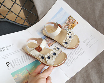 SKHEK Summer Children Sandals for Girls Soft PU Leather Flowers Princess Girl Shoes Kids Beach Baby Toddler