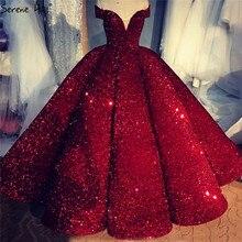 Роскошное Свадебное платье винно красного цвета с открытыми плечами 2020, Дубай, без рукавов, блестки, блеск, высококачественные сексуальные свадебные платья HA2311, индивидуальный пошив