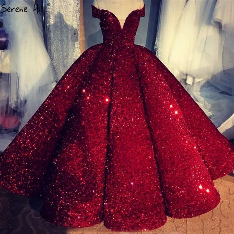Wine Red Luxury Off Shoulder Wedding Dress 2020 Dubai Sleeveless Sequins Sparkle High end Sexy Bridal Gowns HA2311 Custom MadeWedding Dresses   -