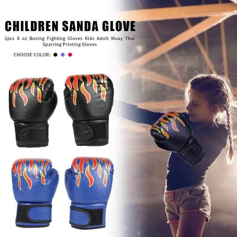 2 pièces boxe entraînement gants de combat enfants respirant Muay Thai Sparring poinçonnage karaté Kickboxing gants de flamme professionnels