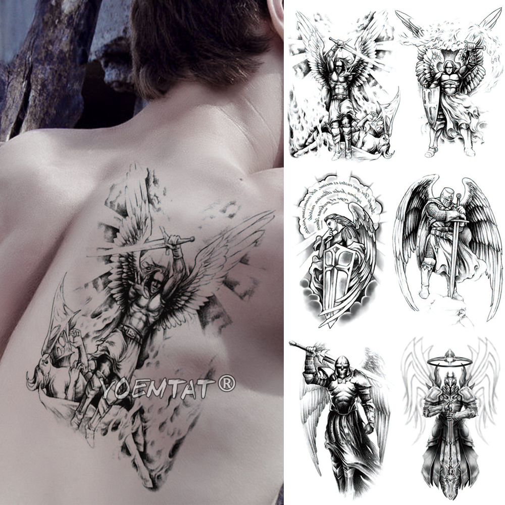 Wing Holy Angel Waterproof Temporary Tattoo Sticker Brave Knight Warrior Flash Tattoos Body Art Arm Fake Tatoo
