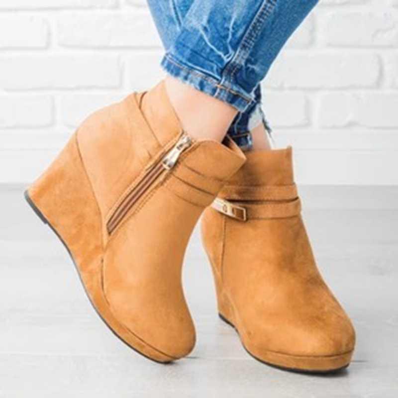 Kama çizme yüksek topuklu kadın yarım çizmeler yuvarlak ayak Zip ayakkabı sıcak platformu kadın çizme takozlar ayakkabı kadın kış Dropship