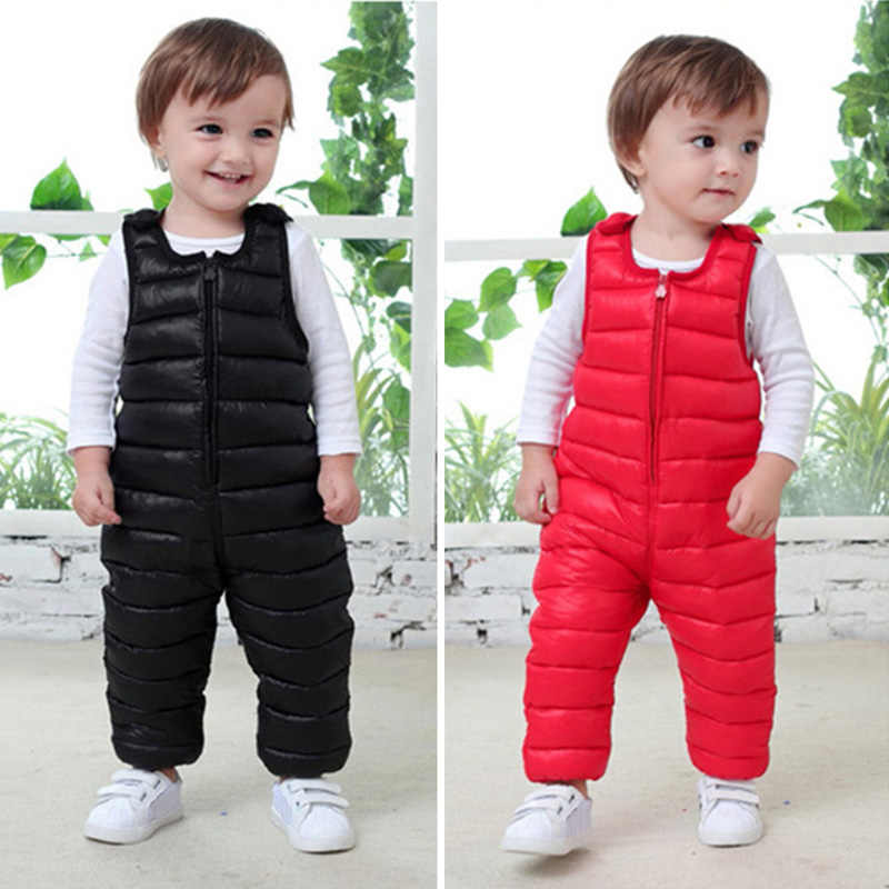 Baby girls & boys winter overalls children warm jumosuits cotton filling kids boys overalls winter pants for toddler 1-4 years