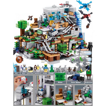 Compatible Lepinedly Playmobil My World Cave Light My Figures Worlds Village Dragon 21137 Building Blocks Toys for Children 342pcs my world series tree house in island model building blocks compatible legoed minecrafted village brick toys for children