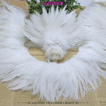 White Coque Feather Rooster Feather Saddle Hackle Feather Strung 6-8