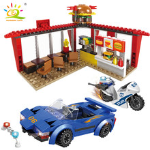406pcs City Police Robber shop street view Building Blocks compatible legoingly Policeman Figures bike model Bricks Set Toys For Children(China)