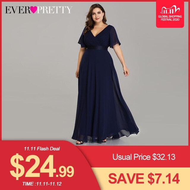 Plus Size Avondjurken Ever Pretty EP09890 Elegante V hals Ruches Chiffon Formele Avondjurk Party Dress Robe De Soiree 2020