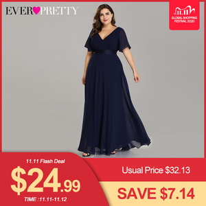 Image 1 - Plus Size Evening Dresses Ever Pretty EP09890 Elegant V Neck Ruffles Chiffon Formal Evening Gown Party Dress Robe De Soiree 2020