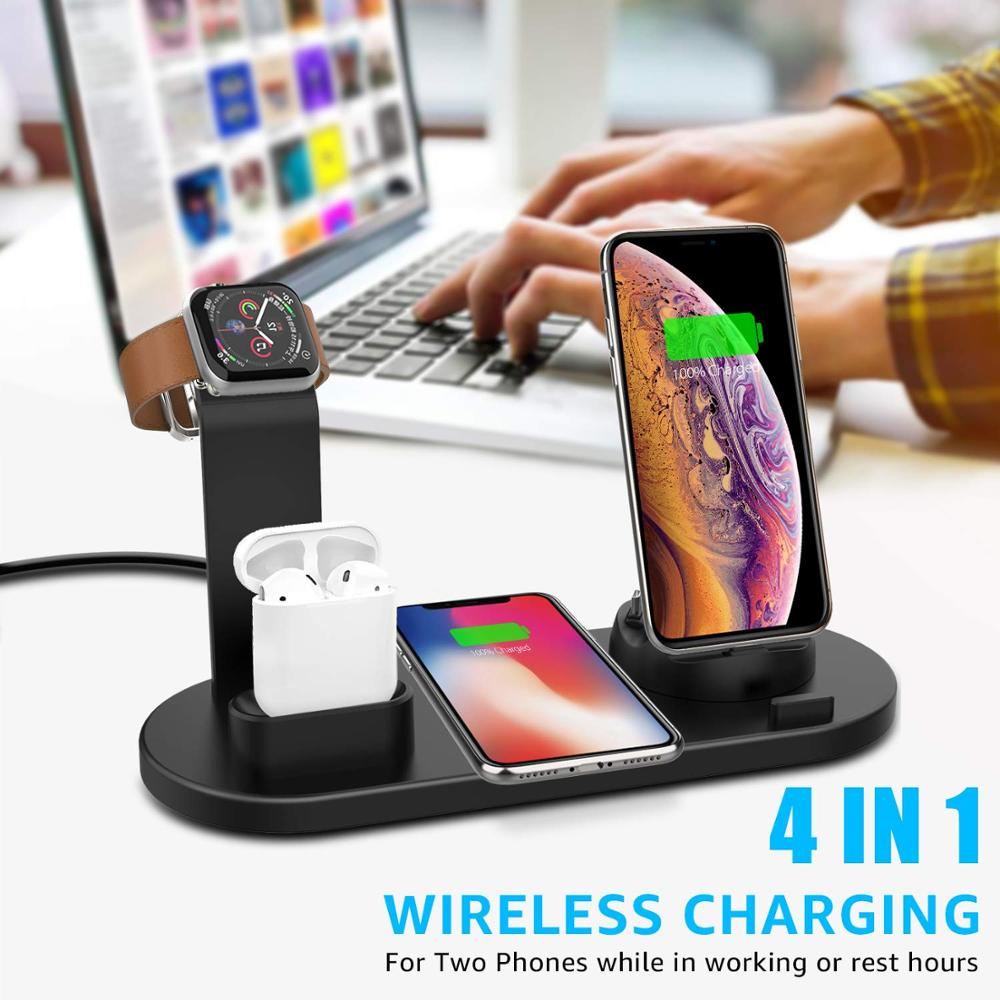 Image 5 - 15W Fast Qi Wireless Charger Stand For iPhone 11 XS XR X 8 Samsung S10 S9 10W 3 in 1 Charging Dock for Apple Watch 5 4 3 Airpods-in Wireless Chargers from Cellphones & Telecommunications