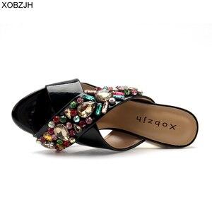 Image 5 - Сандалии стразы женские на высоком каблуке, роскошные брендовые дизайнерские босоножки, свадебная обувь с открытым носком, черные, лето 2019