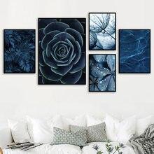 Azul dandelion suculentas monstera deixa arte da parede, pintura da lona, cartazes e impressões nórdicos, decoração da sala de estar customizável